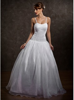 Ball-Gown Sweetheart Floor-Length Organza Satin Wedding Dress With Beading (002012169)