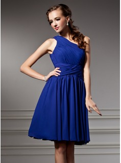 A-Line/Princess One-Shoulder Knee-Length Chiffon Homecoming Dress With Ruffle (022021042)