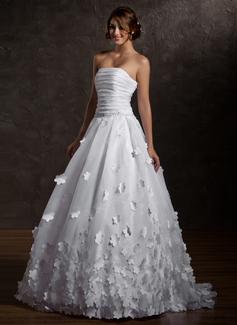 Forme Marquise Sans bretelle Traîne balais Organza Robe de mariée avec Plissé Fleur(s) (002011567)