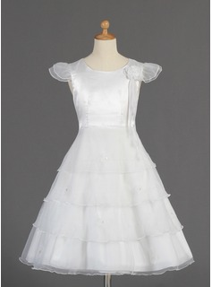Flower Girl Dresses A-Line/Princess Scoop Neck Tea-Length Organza Charmeuse Flower Girl Dress With Beading Flower(s) (010014660)