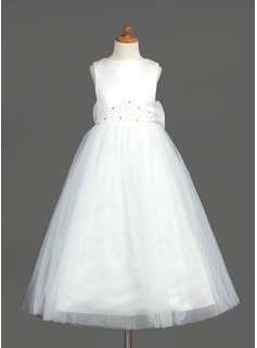Flower Girl Dresses A-Line/Princess Scoop Neck Ankle-Length Organza Satin Tulle Flower Girl Dress With Beading (010005883)