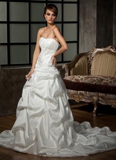 Ball-Gown Sweetheart Chapel Train Taffeta Wedding Dress With Ruffle Beading Sequins (002012016)
