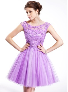 A-Line/Princess Off-the-Shoulder Knee-Length Tulle Charmeuse Homecoming Dress With Beading Sequins (018025268)