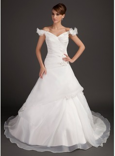 Ball-Gown Off-the-Shoulder Chapel Train Organza Satin Wedding Dress With Ruffle Beading Flower(s) Sequins (002015497)
