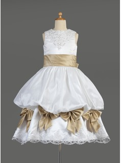 Empire Tea-length Flower Girl Dress - Satin Sleeveless Scoop Neck With Ruffles/Lace/Sash/Beading/Bow(s)/Pick Up Skirt (010014610)