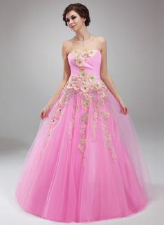 Duchesse-Linie Herzausschnitt Bodenlang Tüll Quinceañera Kleid (Kleid für die Geburtstagsfeier) mit Rüschen Perlen verziert Applikationen Spitze (021018810)