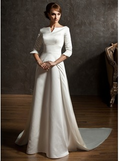 A-Linie/Princess-Linie Off-the-Schulter Watteau-falte Satin Brautkleid (002004779)