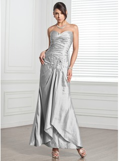 Formal Dresses Online Sheath Sweetheart Ankle-Length Taffeta Evening Dress With Ruffle Beading (017005318)