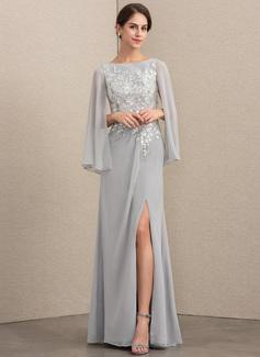 A-Linie/Princess-Linie U-Ausschnitt Bodenlang Chiffon Pailletten Kleid für die Brautmutter mit Schlitz Vorn (008164061)