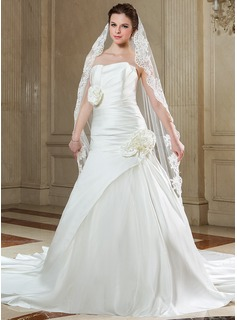 A-Line/Princess Scalloped Neck Chapel Train Satin Tulle Wedding Dress With Ruffle Flower(s) (002000658)