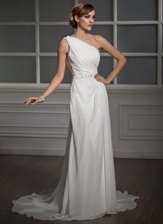 Forme Princesse Encolure asymétrique Traîne moyenne Mousseline Robe de mariée avec Plissé Emperler Motifs appliqués Dentelle Sequins (002011390)