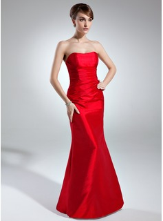 Trumpet/Mermaid Sweetheart Floor-Length Taffeta Bridesmaid Dress With Ruffle (007004262)