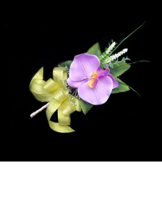 Fascinating Free-Form Satin/Cotton Boutonniere (123031435)