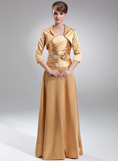A-Linie/Princess-Linie Trägerlos Bodenlang Charmeuse Kleid für die Brautmutter mit Rüschen Perlstickerei Blumen Pailletten (008005709)