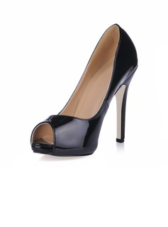 Women's Patent Leather Stiletto Heel Sandals Platform Peep Toe shoes (085020593)