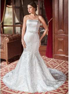 Trumpet/Mermaid Sweetheart Chapel Train Satin Tulle Wedding Dress With Lace Beading Sequins Bow(s) (002000063)