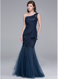 Mermaid One-Shoulder Floor-Length Tulle Evening Dress With Lace (017025780)