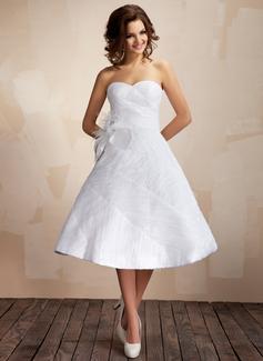 Forme Marquise Bustier en coeur Mi-longues Taffeta Organza Robe de mariée avec Plissé Plumes Fleur(s) (002012097)