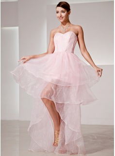 A-Line/Princess Sweetheart Asymmetrical Organza Prom Dress (018014420)