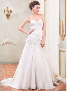 A-Line/Princess Sweetheart Court Train Taffeta Wedding Dress With Ruffle Beading Flower(s) Sequins (002031867)