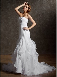 A-Line/Princess Strapless Chapel Train Organza Satin Wedding Dress With Beading Cascading Ruffles (002001292)