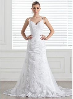 A-Line/Princess Sweetheart Chapel Train Satin Tulle Wedding Dress With Lace (002004546)
