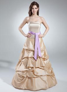 A-Linie/Princess-Linie Trägerlos Bodenlang Taft Quinceañera Kleid (Kleid für die Geburtstagsfeier) mit Rüschen Schleifenbänder/Stoffgürtel (021016041)