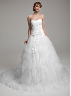 Ball-Gown Sweetheart Chapel Train Taffeta Tulle Wedding Dress With Ruffle Flower(s) (002017552)