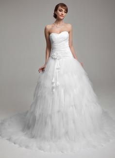 Ball-Gown Sweetheart Chapel Train Taffeta Tulle Wedding Dress With Ruffle Flower(s) (002017552)