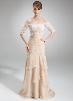 Trompete/Meerjungfrau-Linie Trägerlos Hof-schleppe Chiffon Kleid für die Brautmutter mit Gestufte Rüschen (008006299)