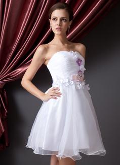 Forme Princesse Bustier en coeur Court/Mini Organza Robe de soirée étudiante avec Plissé Fleur(s) À ruban(s) (022014225)