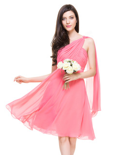 A-Line/Princess One-Shoulder Knee-Length Chiffon Bridesmaid Dress With Ruffle (007067271)