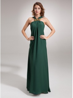 Evening Dresses Sheath V-neck Floor-Length Chiffon Evening Dress With Ruffle Beading (017002609)