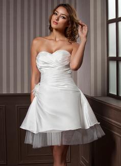 Forme Princesse Bustier en coeur Mi-longues Taffeta Tulle Robe de mariée avec Plissé Fleur(s) (002011637)