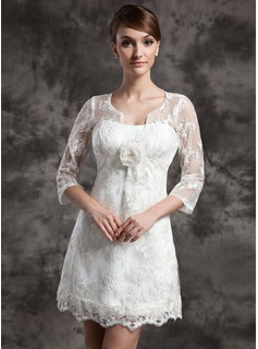 Robe de Marie Ligne-A/Princesse Col rond Court/Mini Charmeuse Dentelle Robe de Marie avec Fleurs (002014998)
