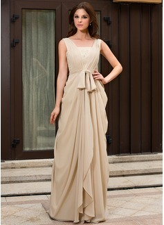 A-Linie/Princess-Linie V-Ausschnitt Sweep/Pinsel zug Chiffon Abendkleid mit Rüschen Spitze Perlen verziert (022027057)
