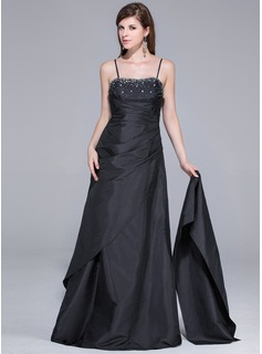 A-Line/Princess Sweetheart Floor-Length Taffeta Prom Dresses With Ruffle Beading (018029104)