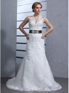 A-Line/Princess Halter Chapel Train Satin Tulle Wedding Dresses With Lace Sashes Beadwork (002000084