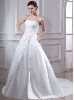 Ball-Gown Strapless Chapel Train Satin Wedding Dress With Ruffle Lace Beading (002001593)