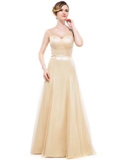 A-Linie/Princess-Linie V-Ausschnitt Bodenlang Charmeuse Brautjungfernkleid mit Rüschen Schleife(n) (007050067)