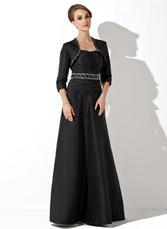 Empire-Linie Herzausschnitt Bodenlang Taft Kleid für die Brautmutter mit Rüschen Perlen verziert Pailletten (008006092)
