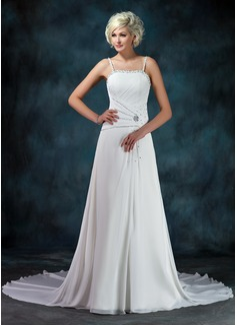 Forme Princesse Bustier en coeur Traîne mi-longue Mousseline Robe de mariée avec Plissé Emperler Sequins (002011452)