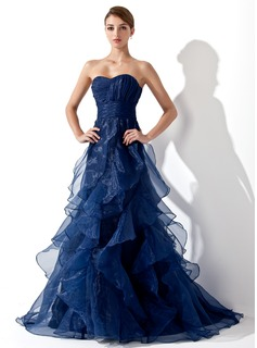 Robe de Bal de Promo Ligne-A/Princesse Cur Traine longue Organza Robe de Bal de Promo avec Ondul (018004861)