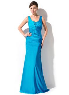 Trompete/Meerjungfrau-Linie V-Ausschnitt Bodenlang Jersey Abendkleid mit Rüschen Perlen verziert Pailletten (017051152)