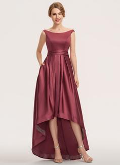 A-Line Off-the-Shoulder Asymmetrical Satin Bridesmaid Dress (007190689)