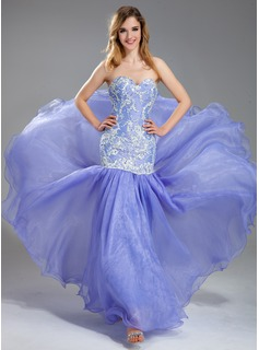 Trumpet/Mermaid Sweetheart Floor-Length Organza Lace Prom Dress With Beading Sequins (018019004)