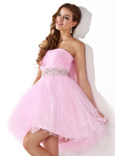 Sweet Sixteen Dresses A-Line/Princess Sweetheart Short/Mini Tulle Homecoming Dress With Beading (022020909)