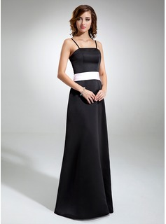 A-Line/Princess Floor-Length Satin Bridesmaid Dress With Sash (007001477)