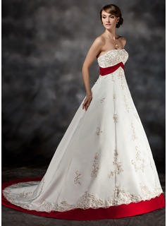 Ball-Gown Strapless Court Train Satin Wedding Dress With Lace Sash Beading (002017432)