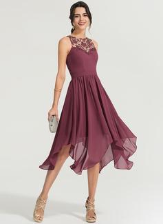 A-Line/Princess Scoop Neck Asymmetrical Chiffon Cocktail Dress (016170860)